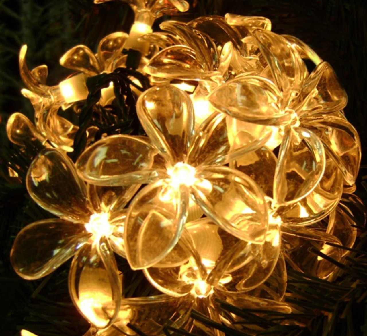 Set of 20 Plumeria Flower Clear Novelty Christmas Lights - Green ...