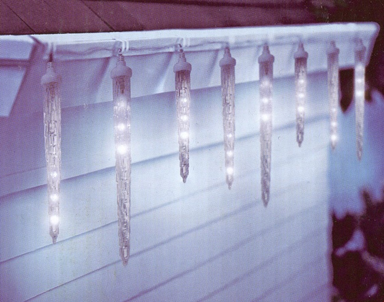 10 Clear Led Dripping Icicle Christmas Lights 12 Ft White Wire 30955616