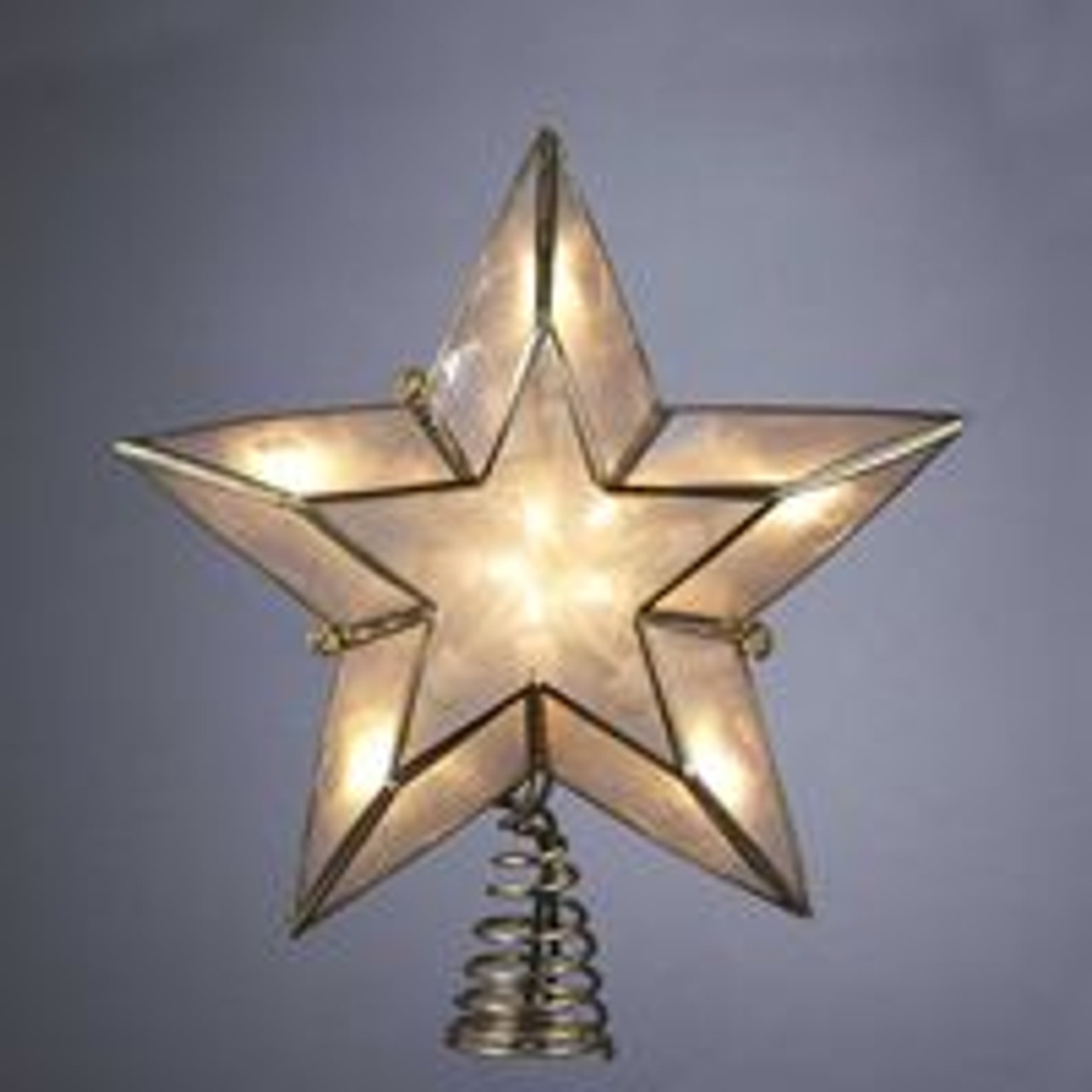 6 lighted gold and ivory capiz five point star christmas tree topper 13221441