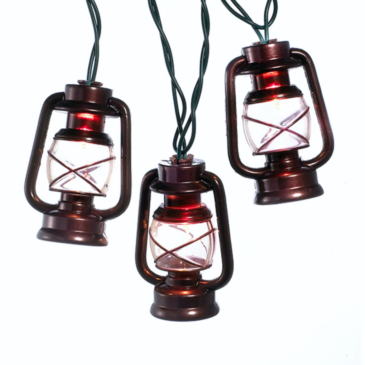 Set of 10 Brass Lantern Novelty Christmas Lights - Green Wire ...