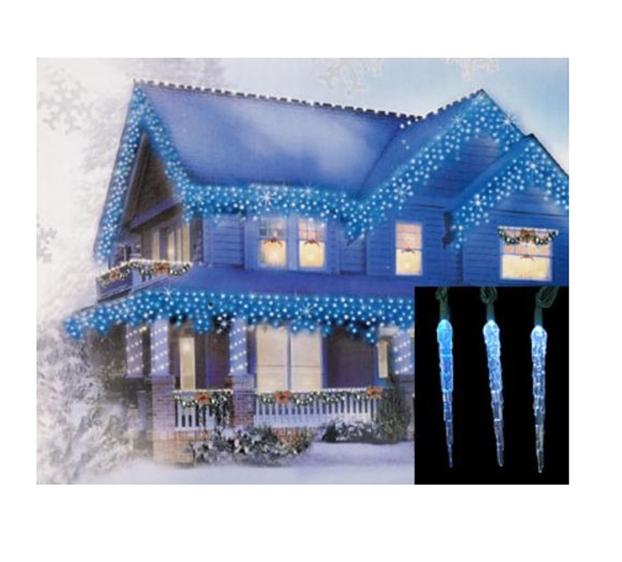 set of 10 blue and white color changing led icicle christmas lights green wire 32586048