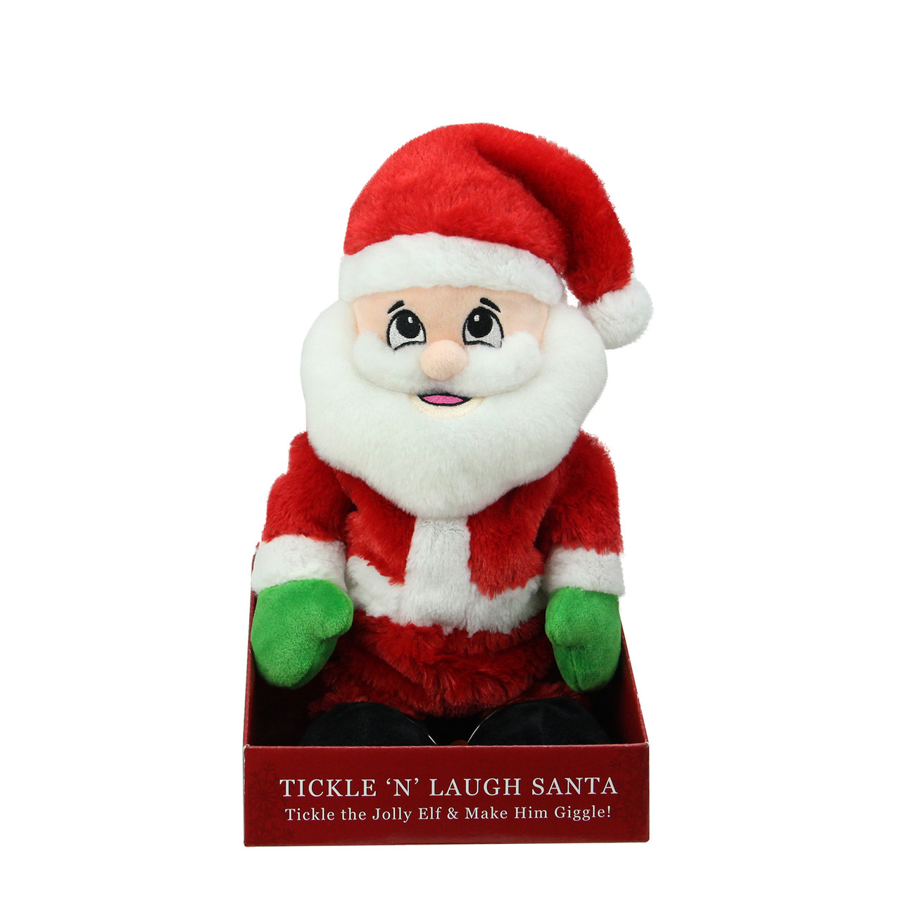 pack of 6 animated tickle n laugh santa claus plush christmas figures 12 32588766