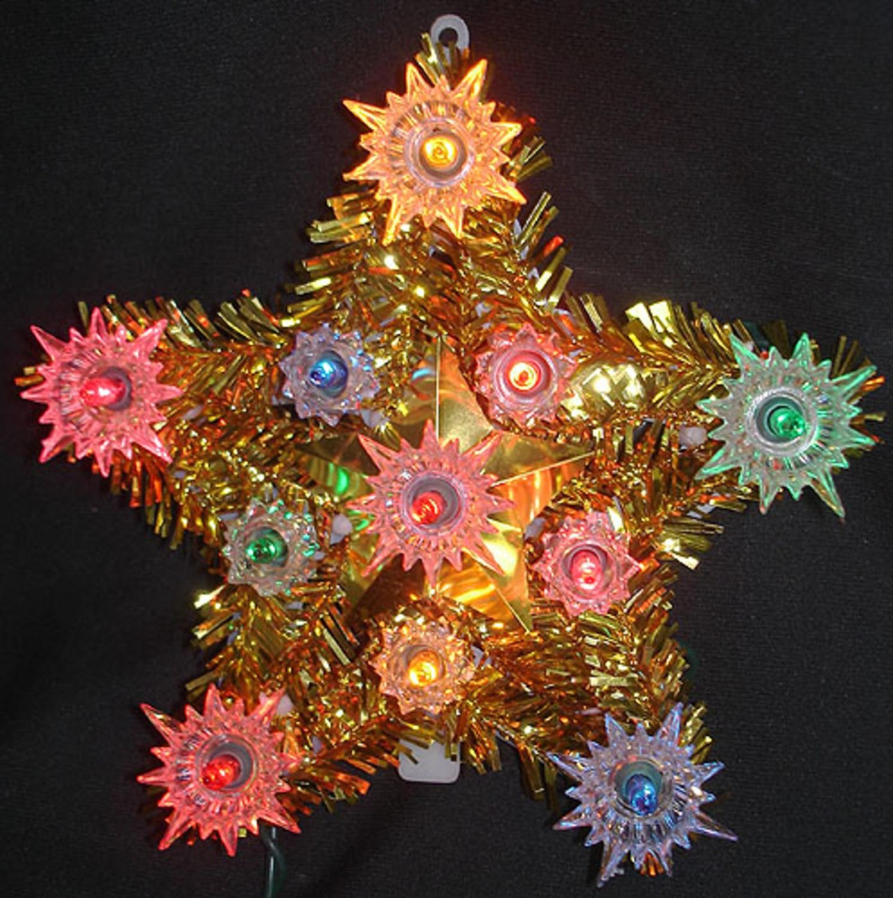 55 lighted everglow gold tinsel star christmas tree topper multi color lights 32588818