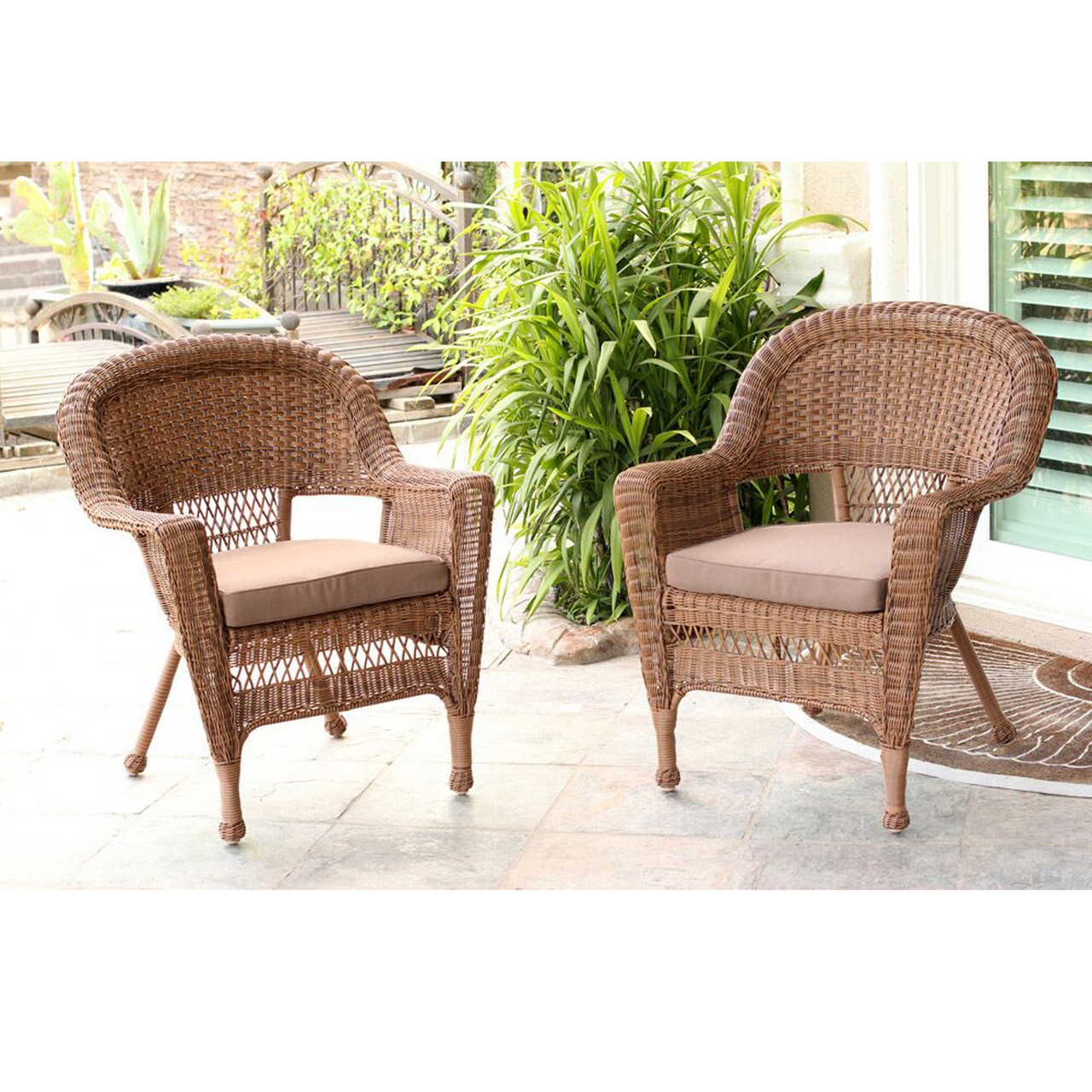 set of 2 honey resin wicker outdoor patio garden chairs brown