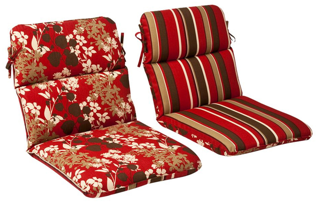 Outdoor Patio Furniture High Back Chair Cushion   Reversible Tropical Red  Stripe   13366669