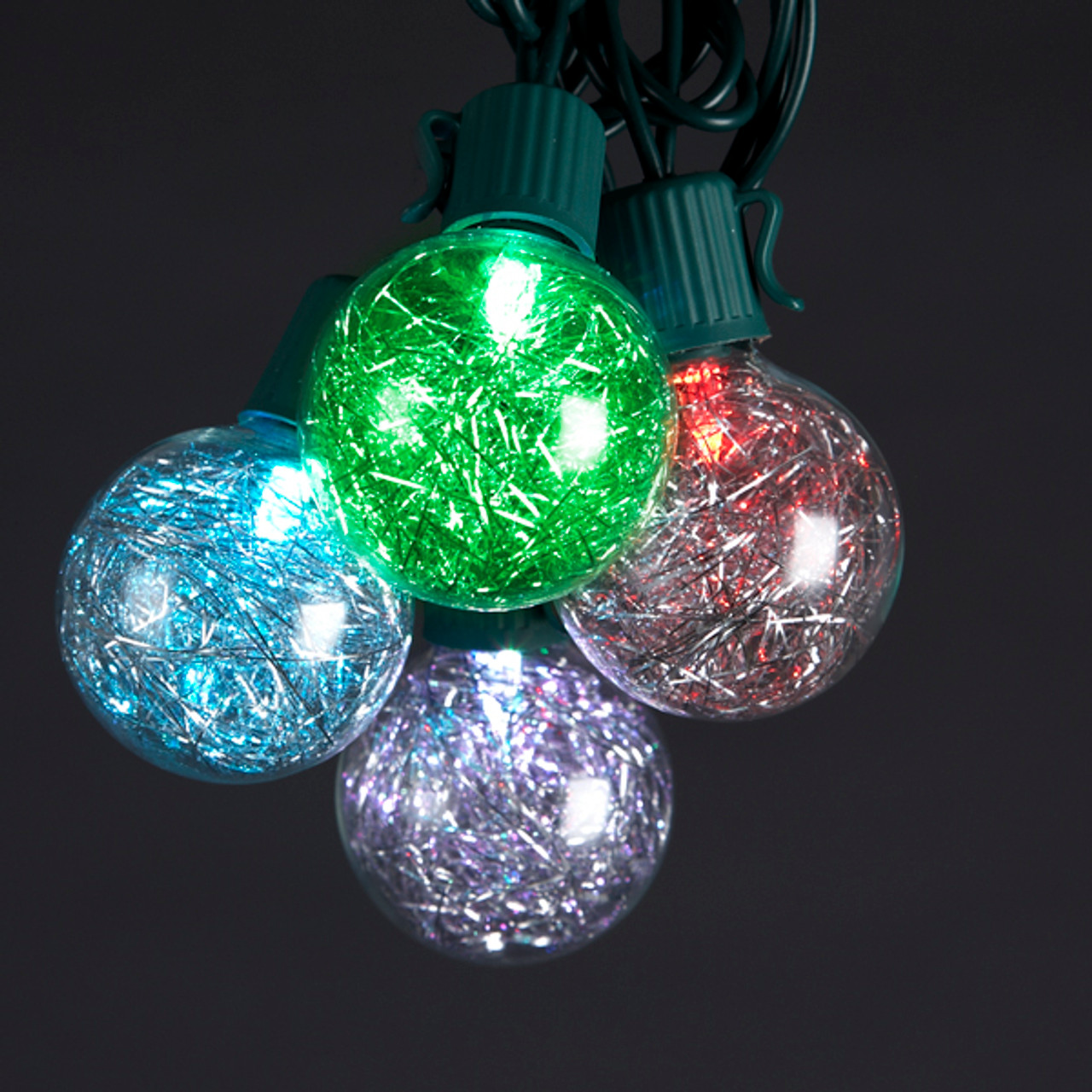 set of 10 color changing multi color led g40 tinsel christmas lights green wire 9483540