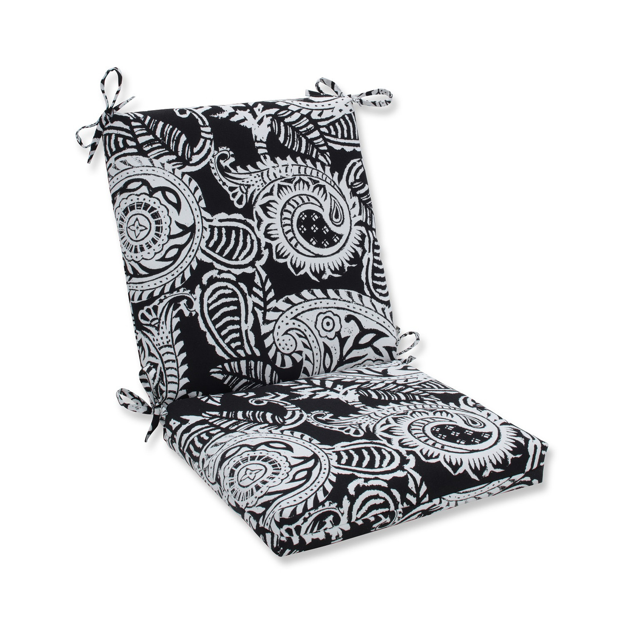 36.5u201d Black And White Paisley Swirl Outdoor Patio Chair Cushion With Ties    32598087
