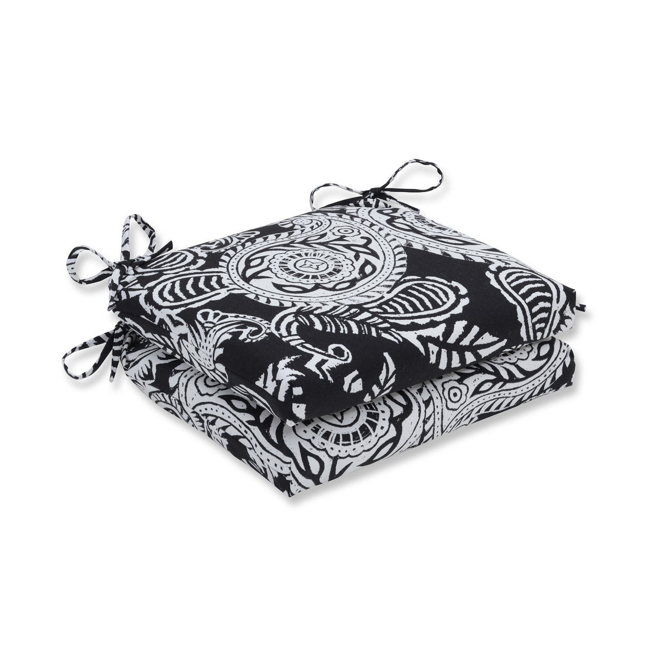 Set Of 2 Black And White Paisley Swirl Outdoor Patio Chair Seat Cushion  With Ties 18.5u201d   32598104