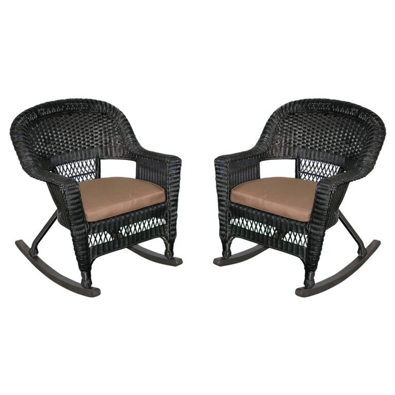 Exceptional 2 Piece Tiana Black Resin Wicker Patio Rocker Chairs Set   Brown Cushions    31556415