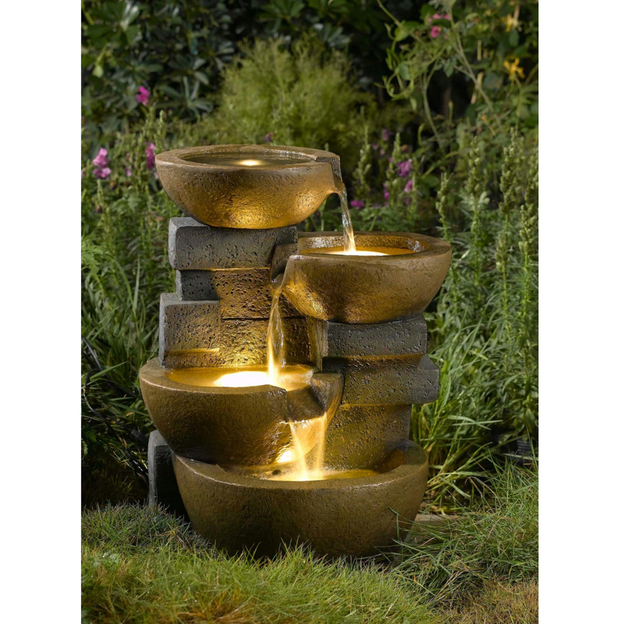 23 led lighted stacked pots rocks outdoor patio garden water 23 led lighted stacked pots and rocks outdoor patio garden water fountain 31555939 aloadofball Image collections