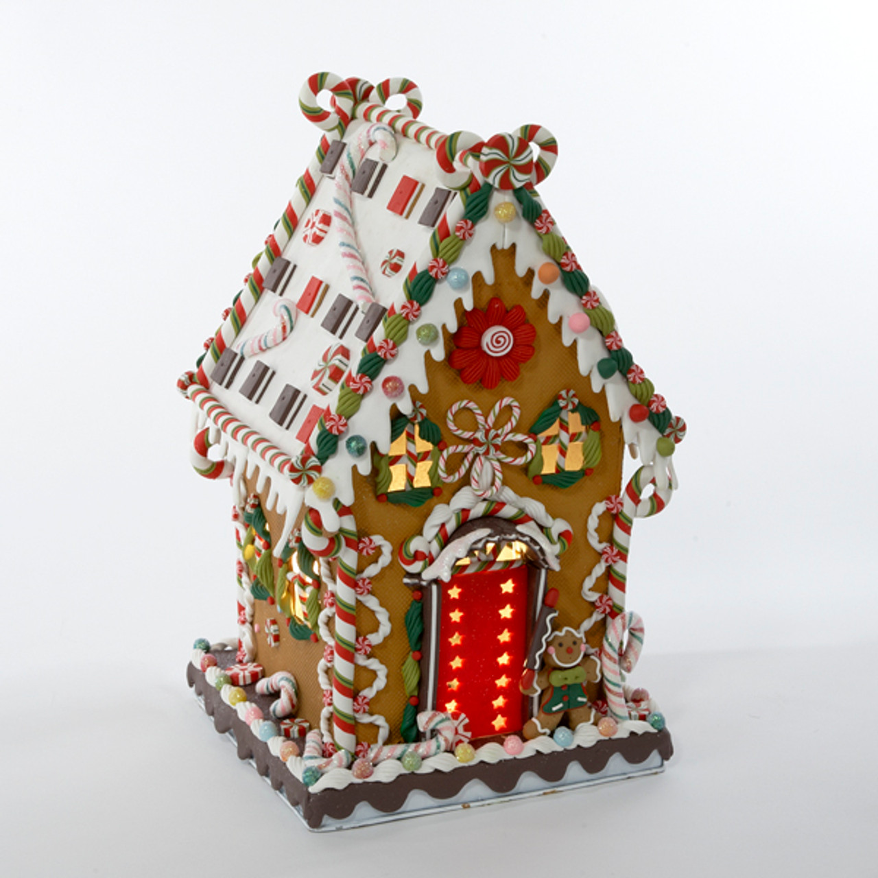 1325 gingerbread kisses lighted cookie and candy house christmas decoration 9455258