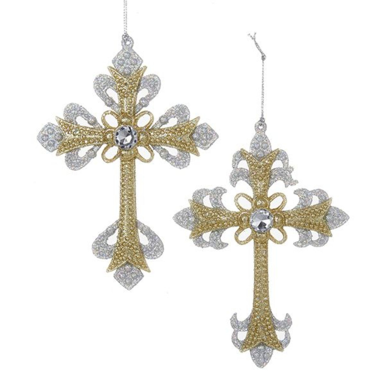 24 gold and silver glittered cross religious christmas ornaments 575 28191636