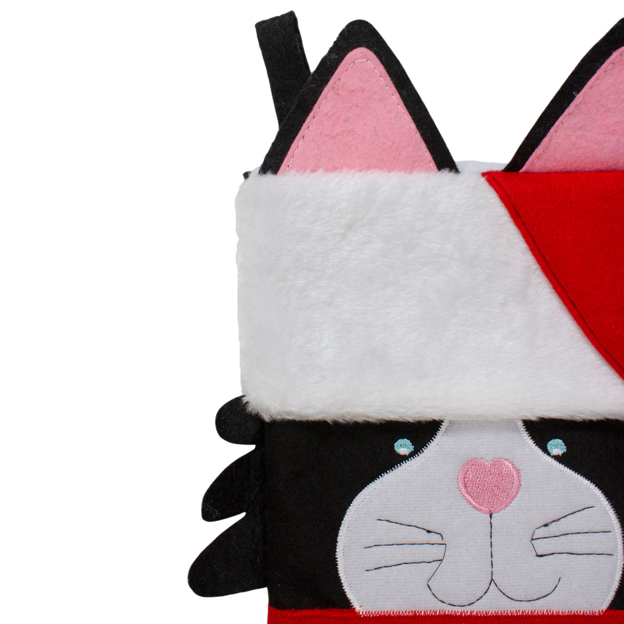 """19.5"""" Black, Red & White Embroidered Kitty Cat Christmas ..."""