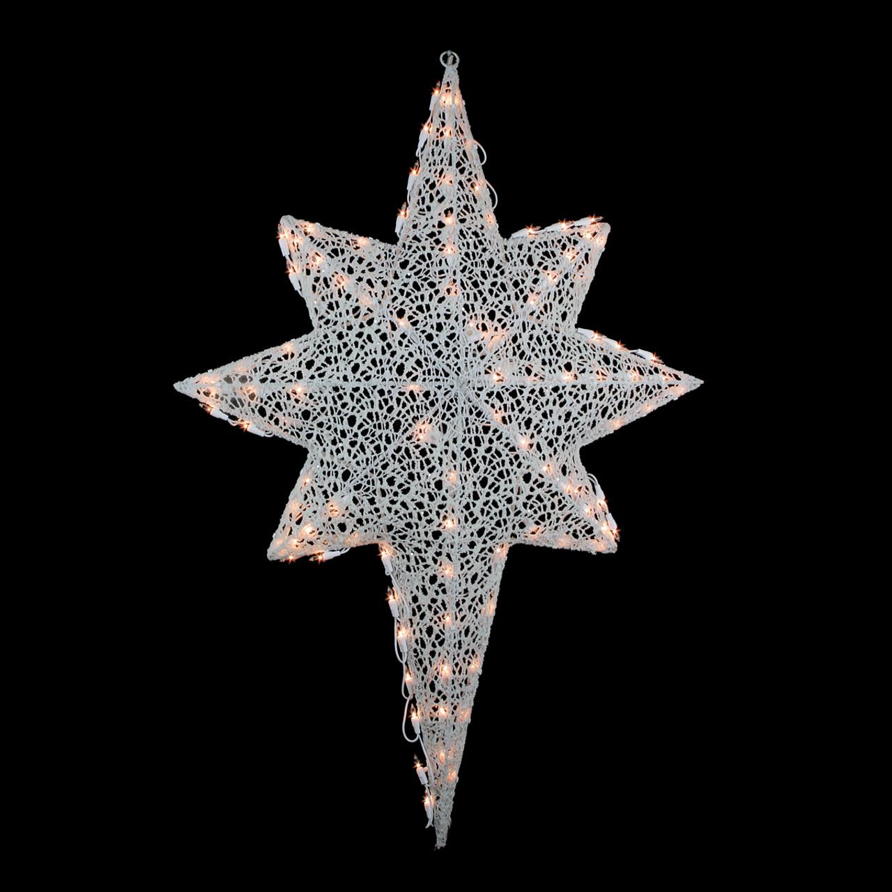 36 lighted white glittering mesh 2 d star of bethlehem christmas 36 lighted white glittering mesh 2 d star of bethlehem christmas outdoor decoration mozeypictures Images