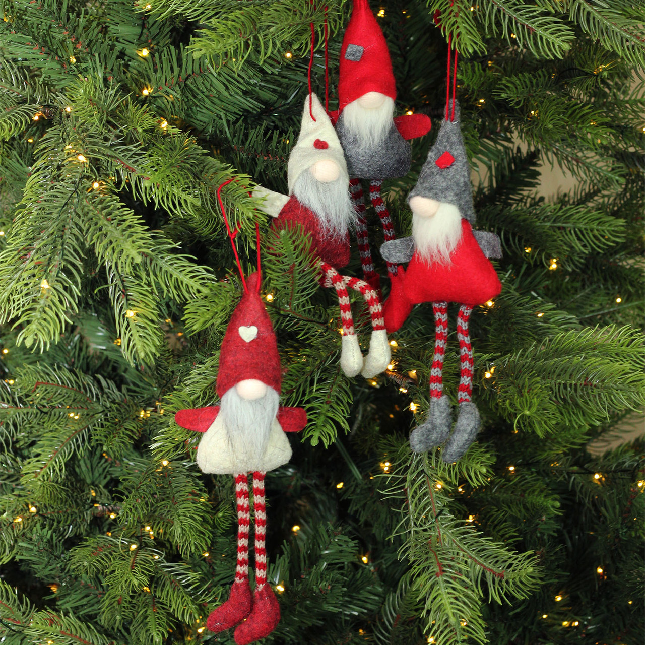 set of 4 red gray and beige plush gnome christmas ornaments 8 32283463