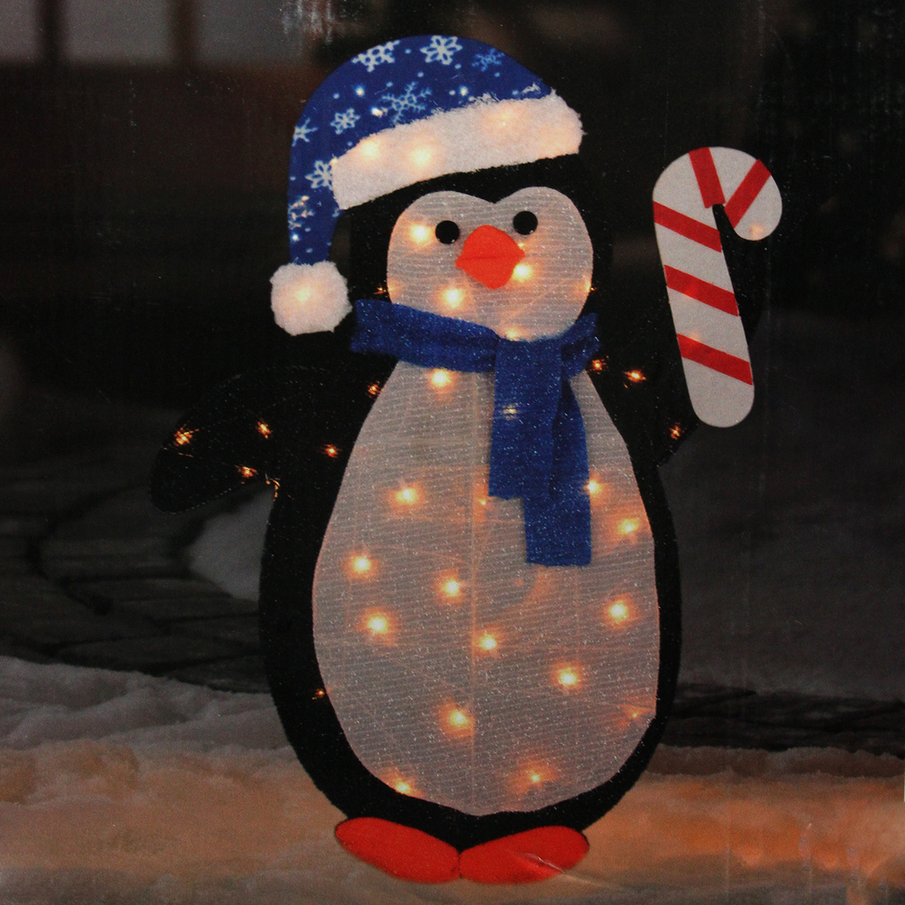 42 lighted winter penguin with santa hat outdoor christmas yard art decoration clear lights 31739950