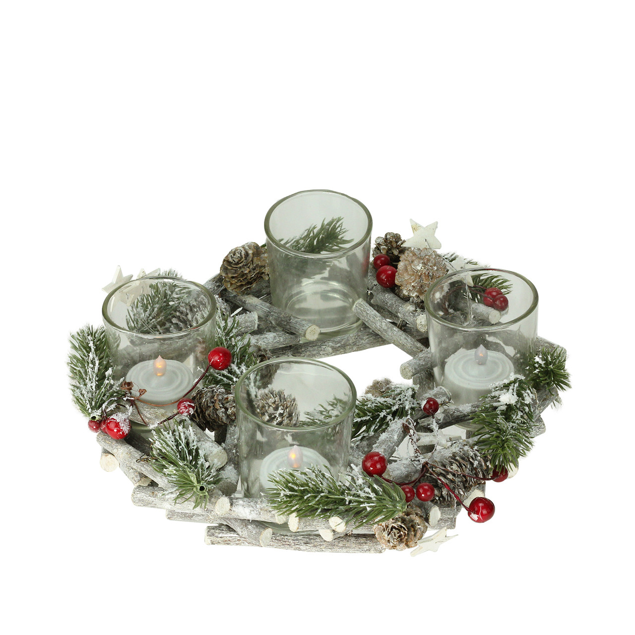 10 frosted berries branches and stars christmas votive candle holder centerpiece 32262306 - How To Decorate Votive Candle Holders For Christmas