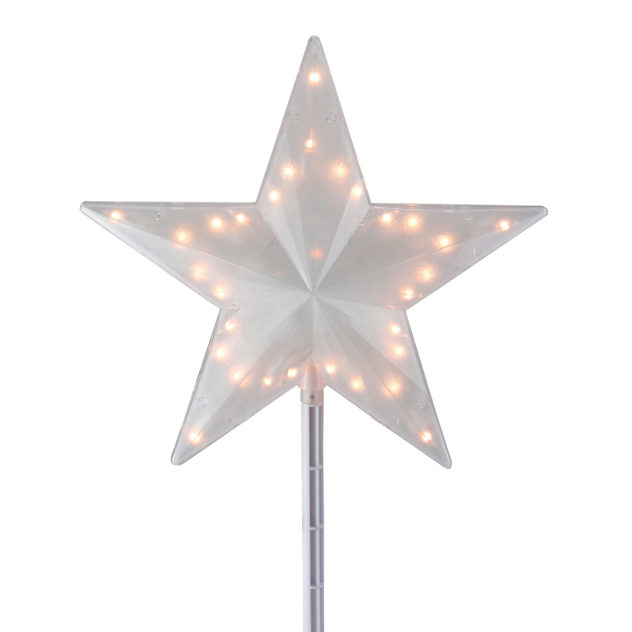 14 clear lighted twinkling christmas star tree topper or pathway marker 11297256