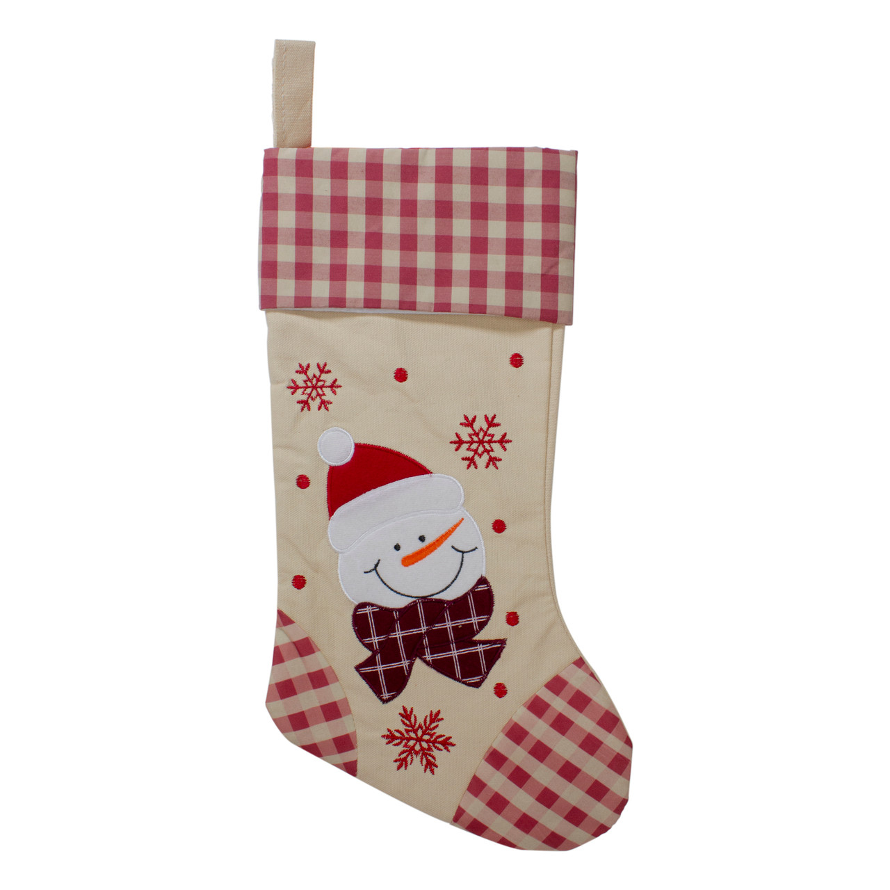 17 burlap embroidered snowman christmas stocking with red gingham cuff 32585048 - Embroidered Christmas Stocking