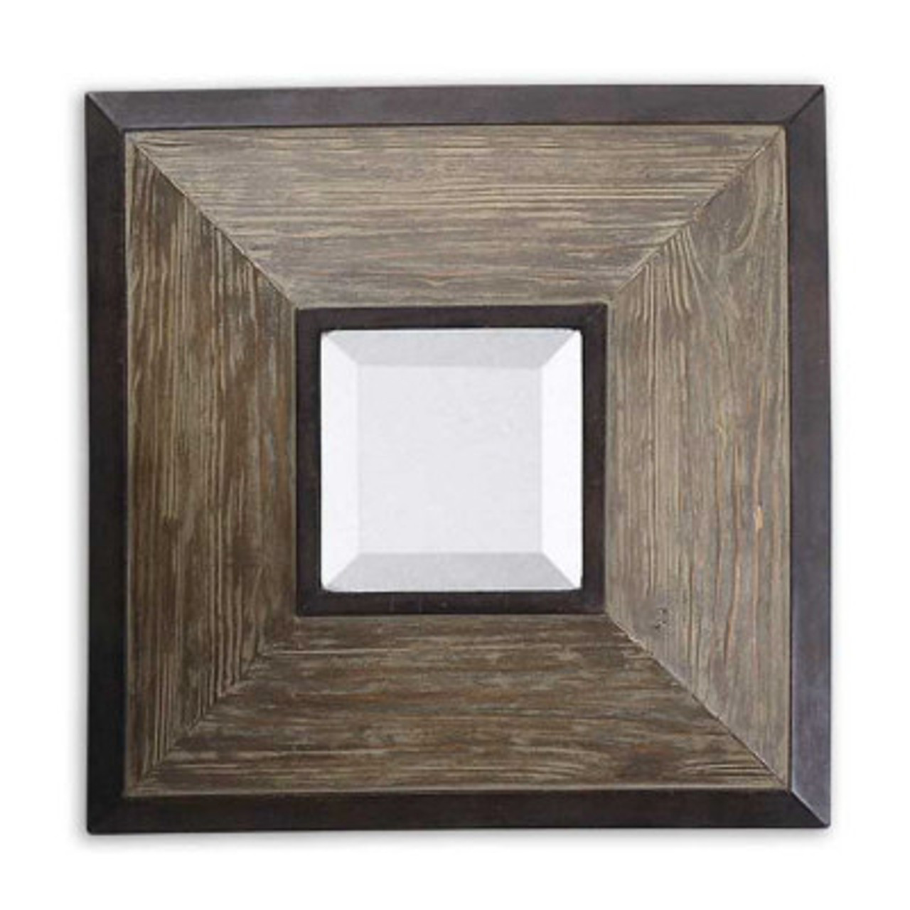 Set Of 4 Beveled Dark Bronze Bordered Wooden Framed Square Wall