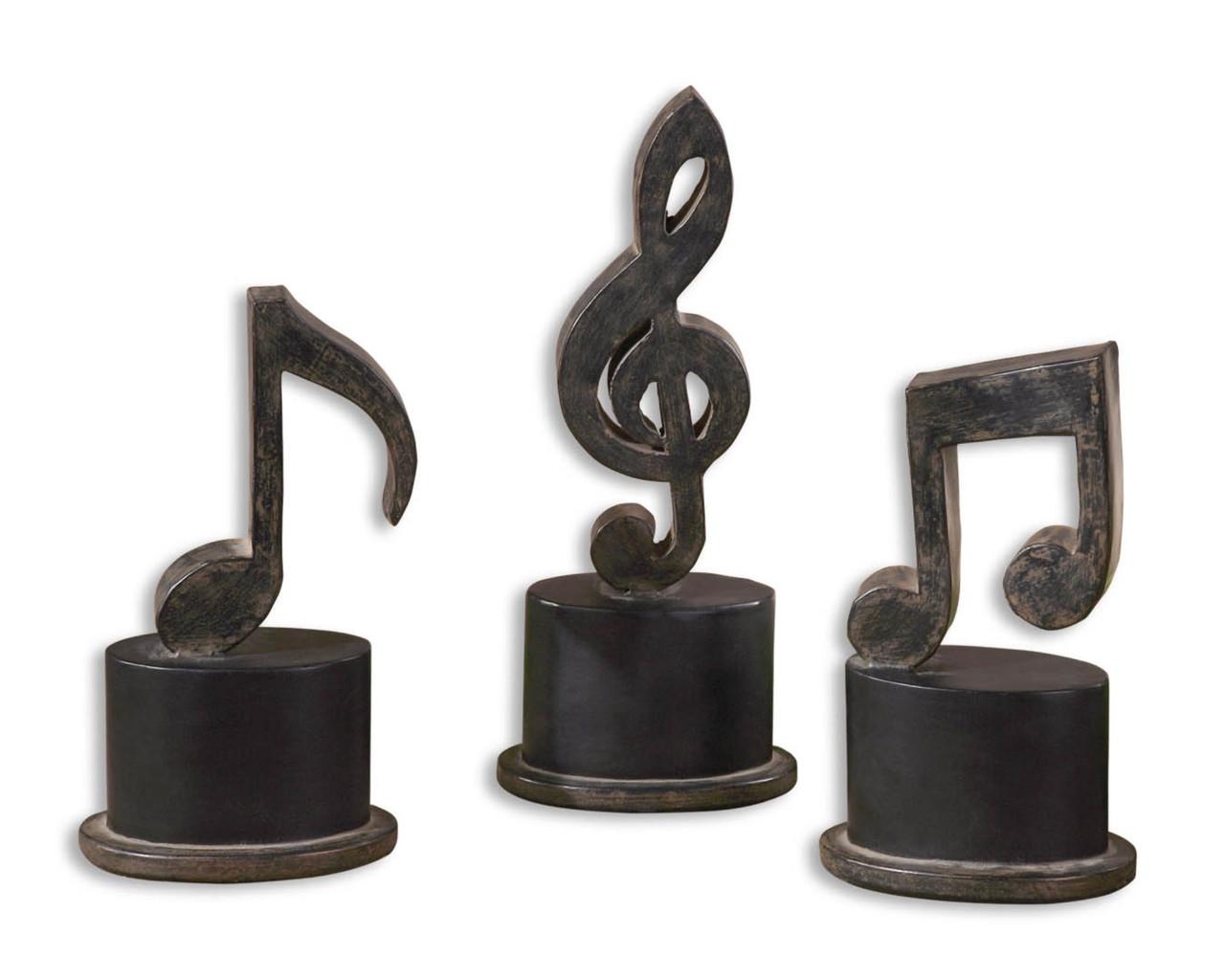 Set of 3 Matte Black & Tan Metal Instrumental Music Note Table Top ...