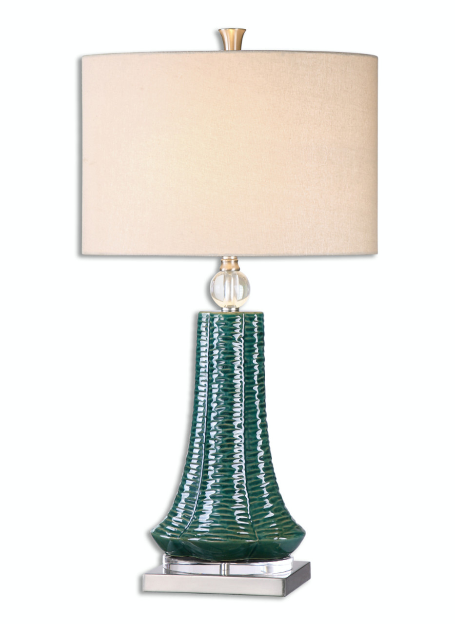 31 5 Textured Teal Ceramic Table Lamp With Beige Linen Slubbed