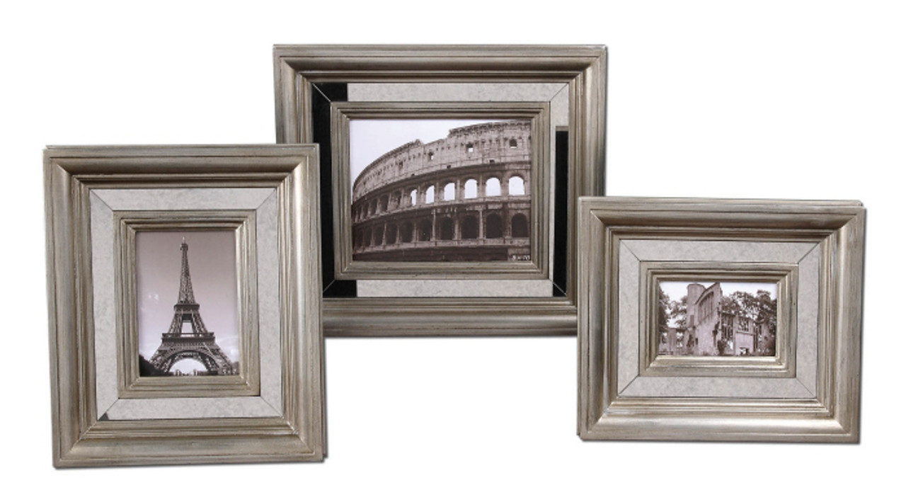 Set of 3 Antiqued Mirror & Silver Finish 4x6 5x7 8x10 Photo Picture ...
