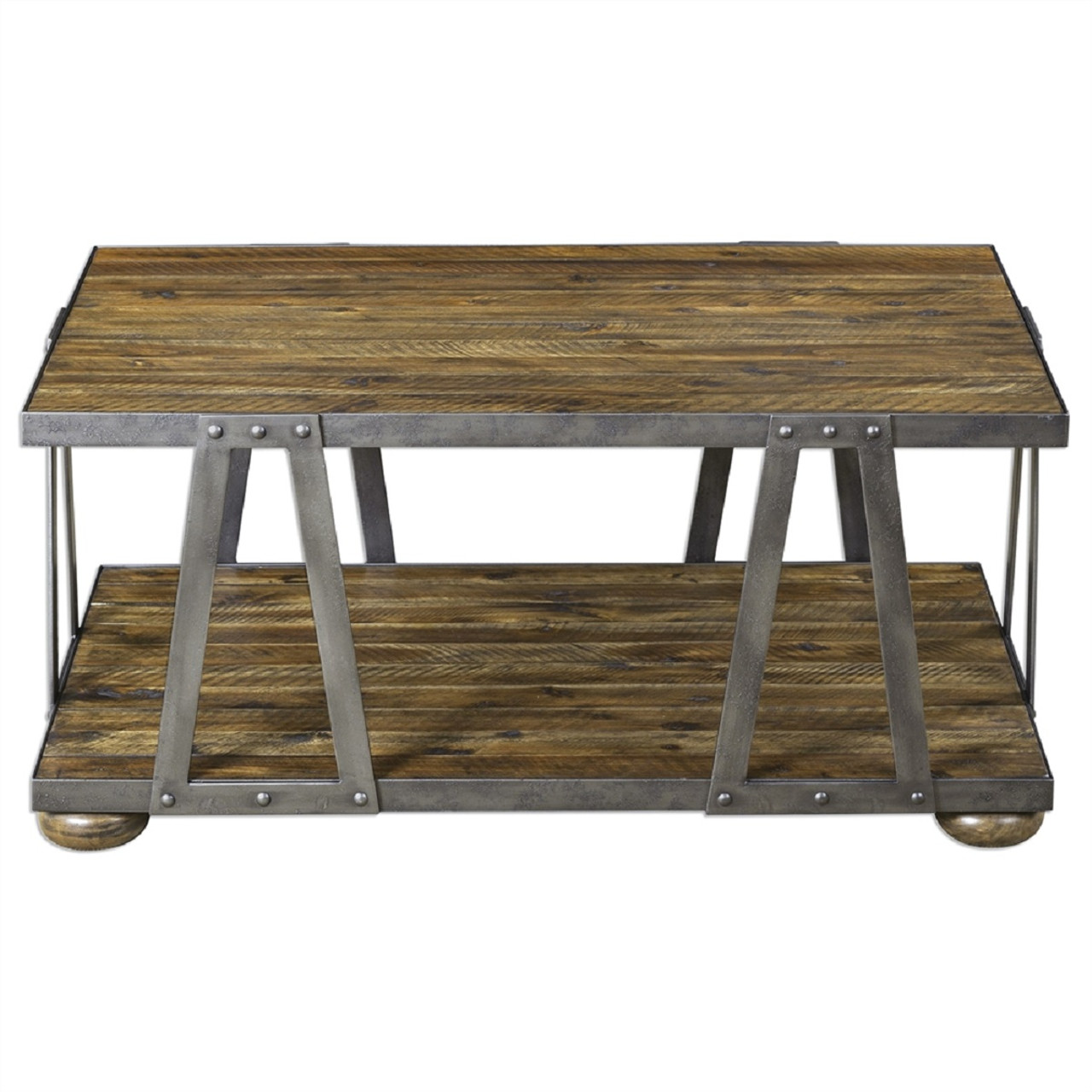 Vladimir Solid Acacia With Metal Strapping Studded Details - Studded coffee table