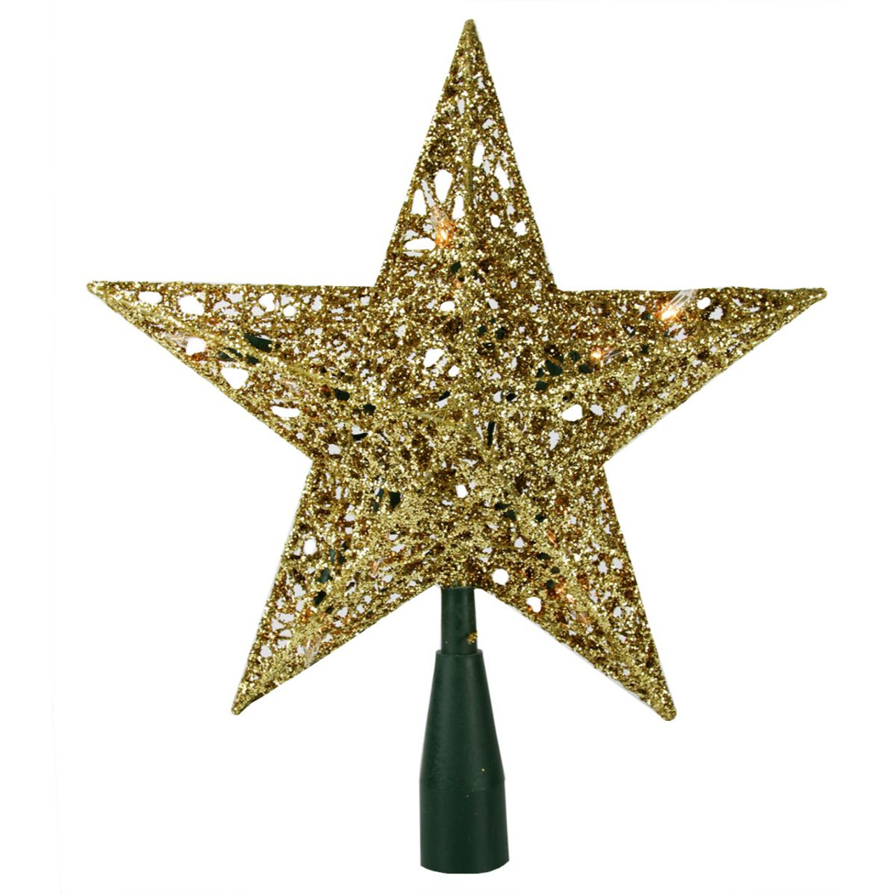 """9"""" Lighted Gold Wire Star Christmas Tree Topper - Clear ..."""