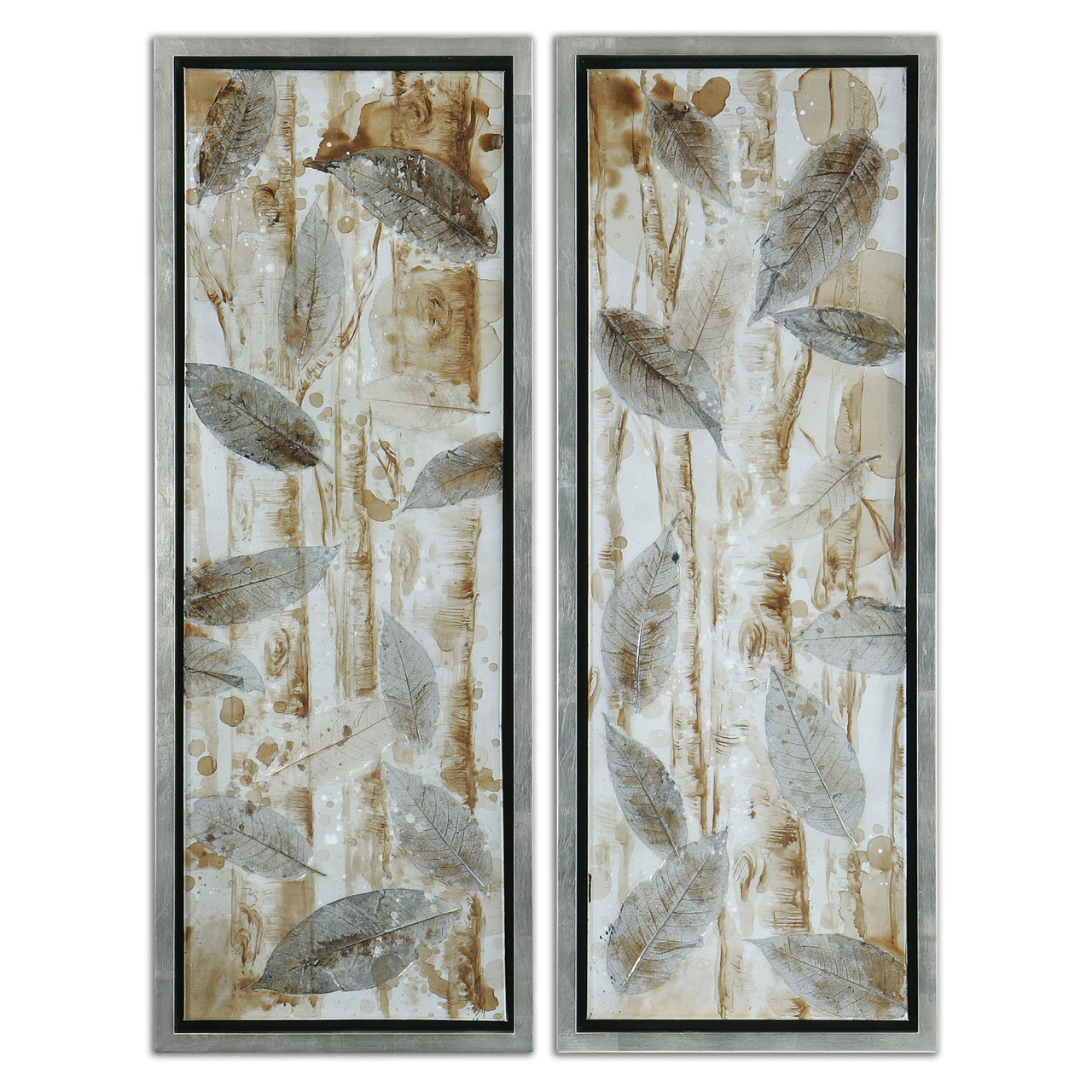 Set of 2 Hand Painted Trees & Dried Leaves Framed Stretched Canvas ...