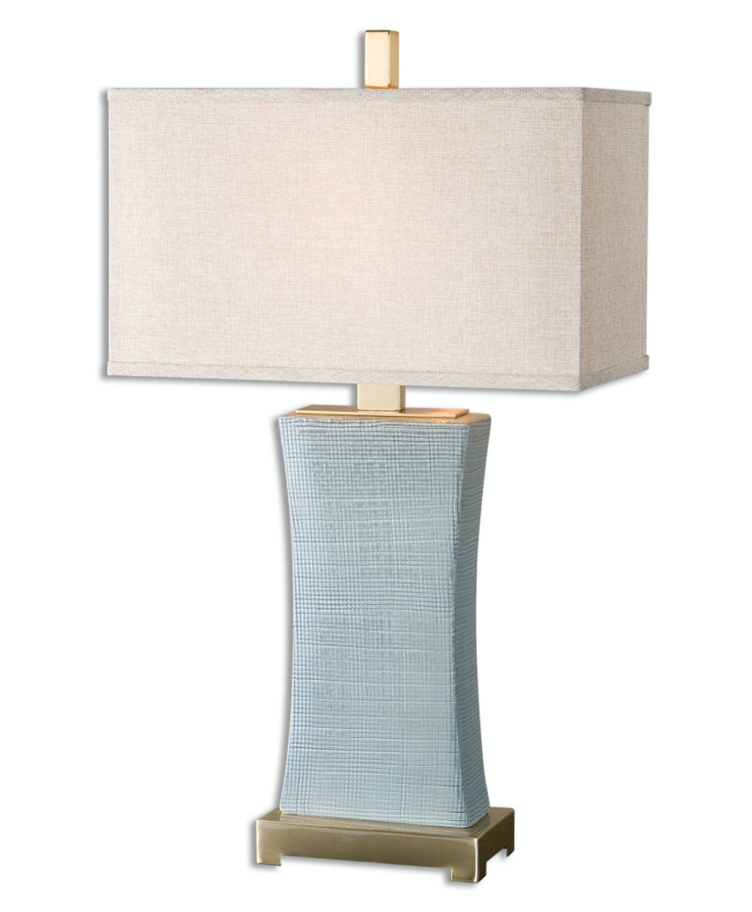 29 Textured Pale Blue Gray Ceramic Table Lamp With Beige Linen