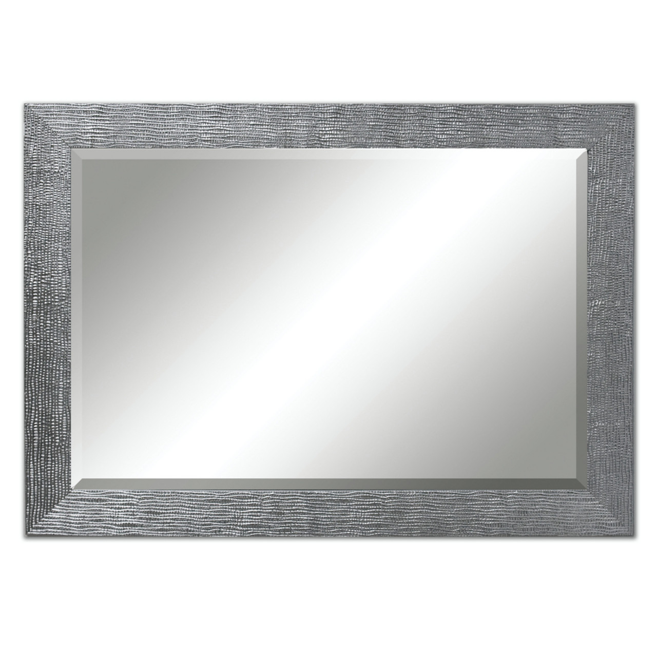 Exotic Beveled Rectangular Mirror with Textured Animal Skin Silver ...
