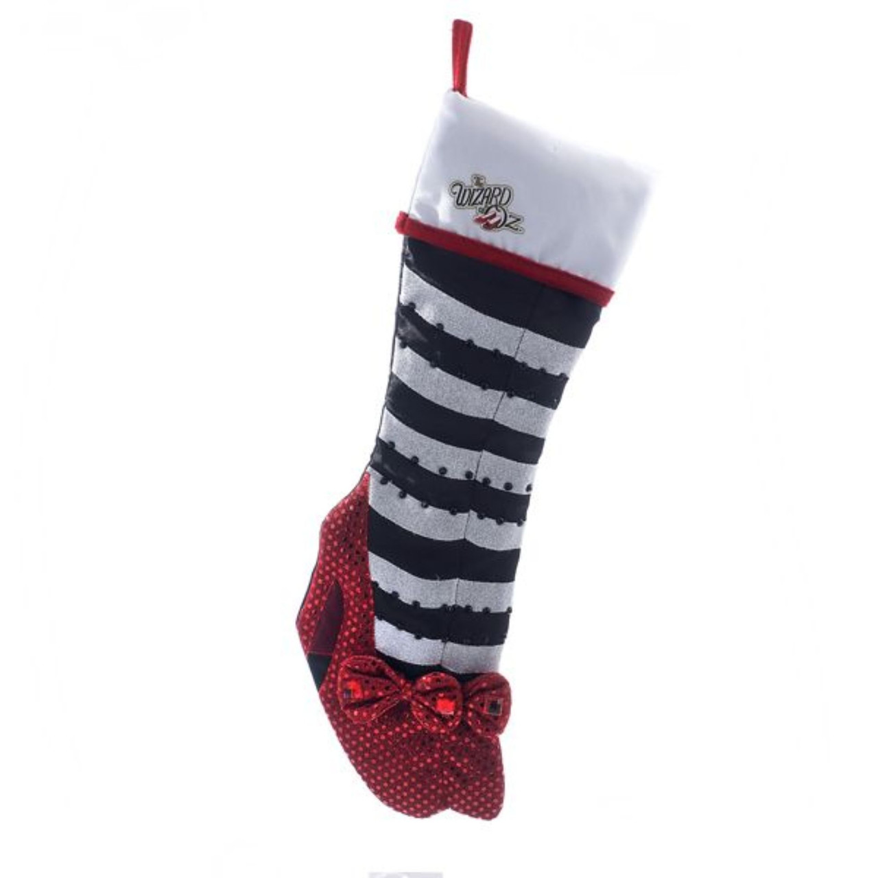 pack of 6 wizard of oz black and white striped with ruby slippers christmas stockings 19 31342484 - Striped Christmas Stockings