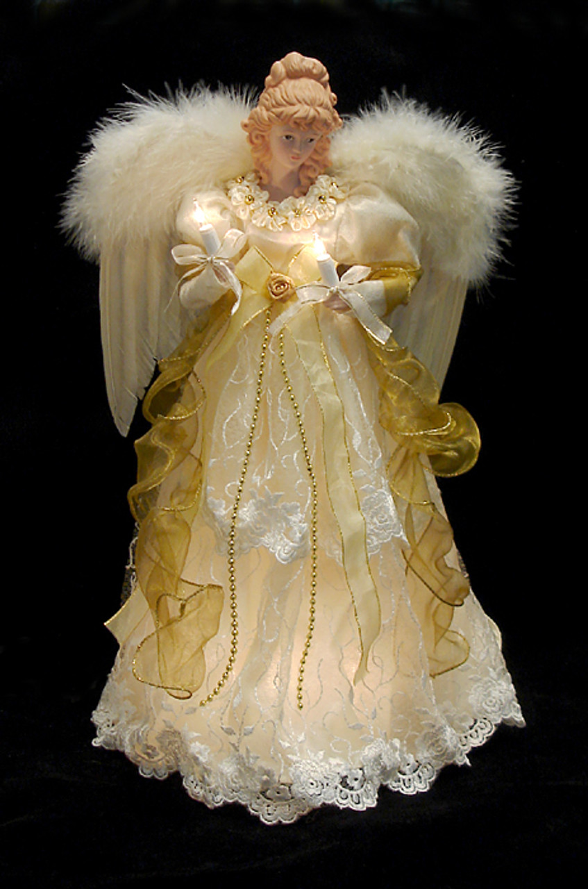 165 lighted ivory and gold angel christmas tree topper clear lights 10838261