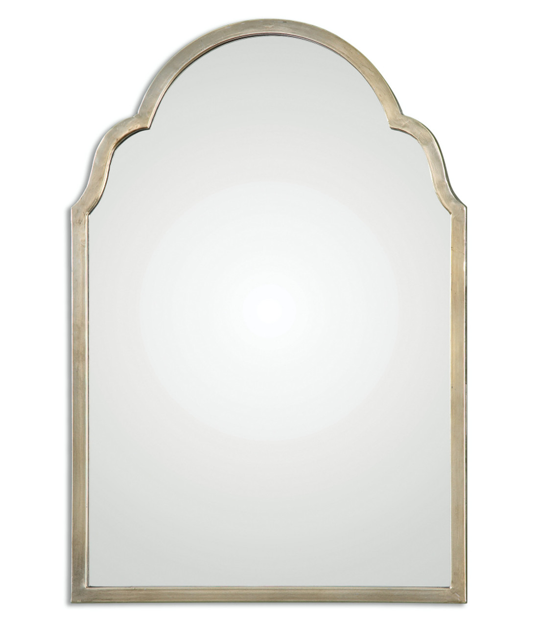 Petite Bridgette Hand Forged Metal Arch Wall Mirror with Silver ...