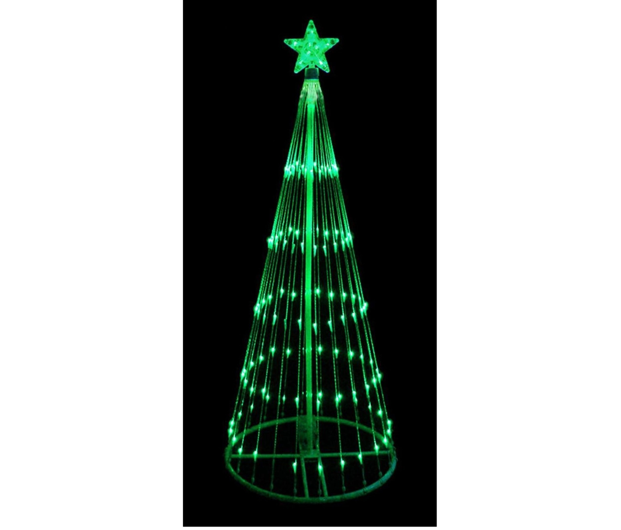 4 green led light show cone christmas tree lighted outdoor decoration 32605113
