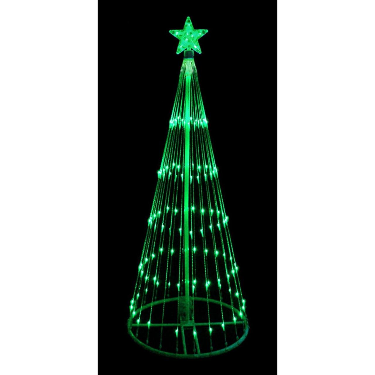 9\' Green LED Light Show Cone Christmas Tree Lighted Yard Art ...