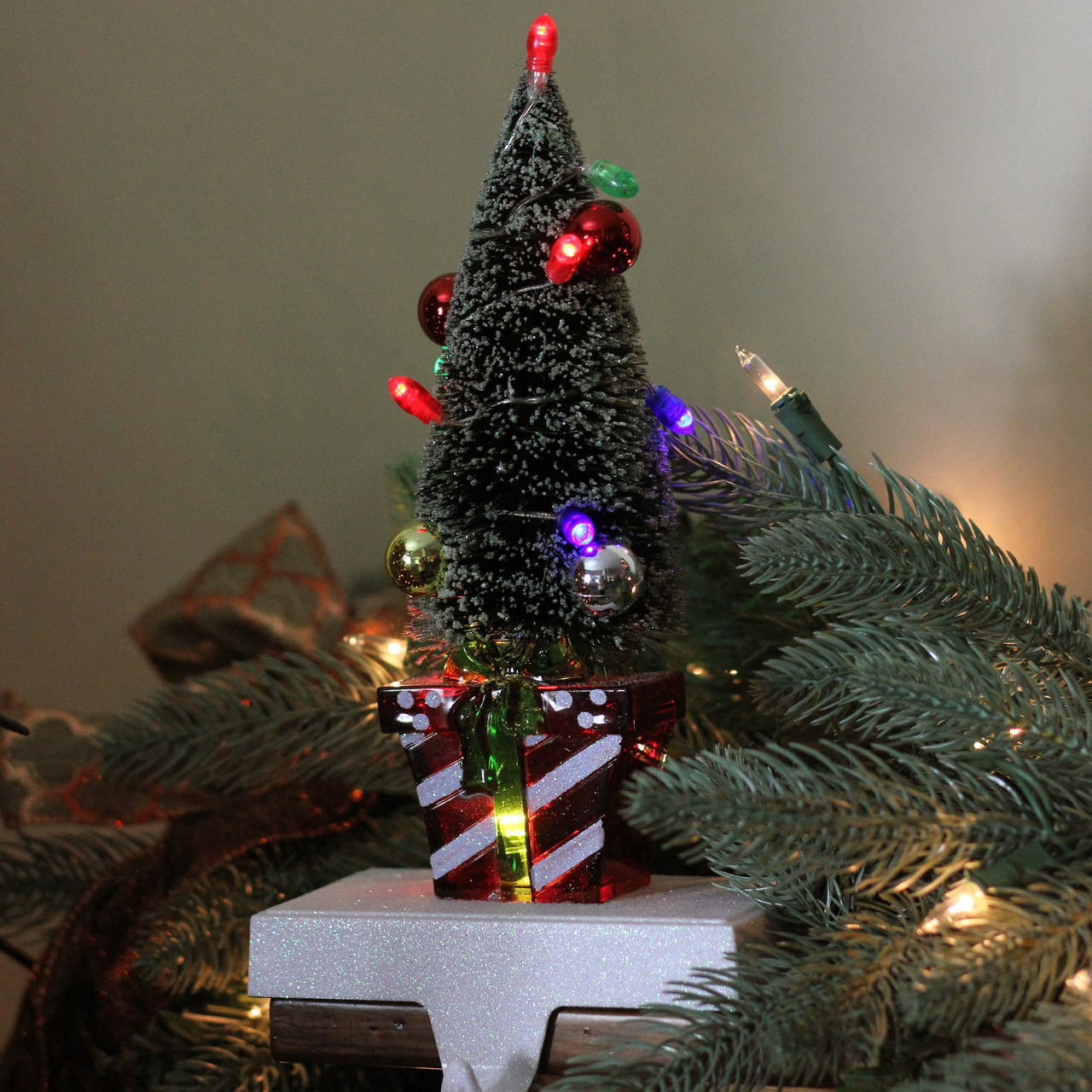 105 battery operated lighted christmas tree stocking holder with led lights 32605911