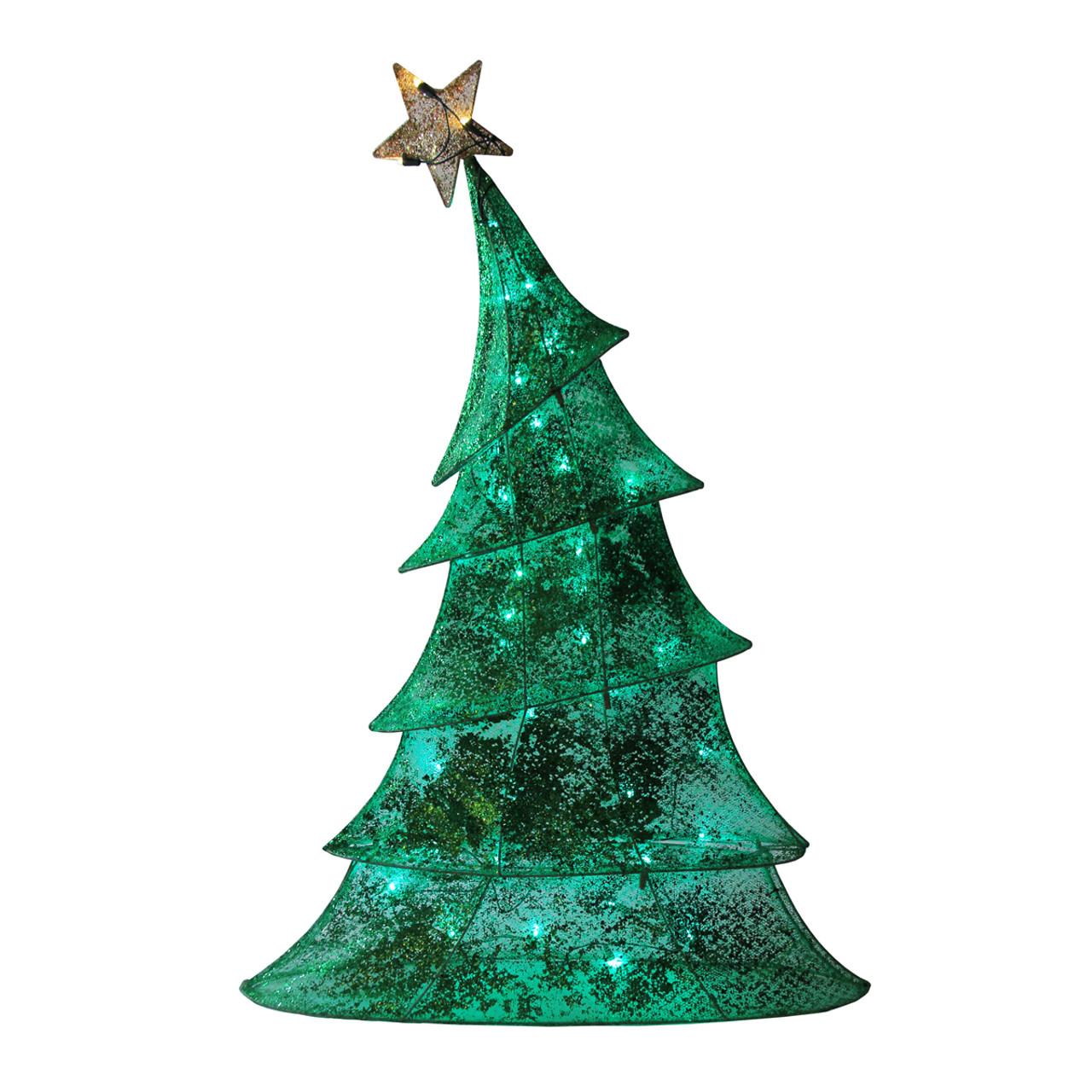 "Lighted Christmas Tree Yard Decorations: 48"" LED Lighted 2D Green Glitter Mesh Whimsical Christmas"