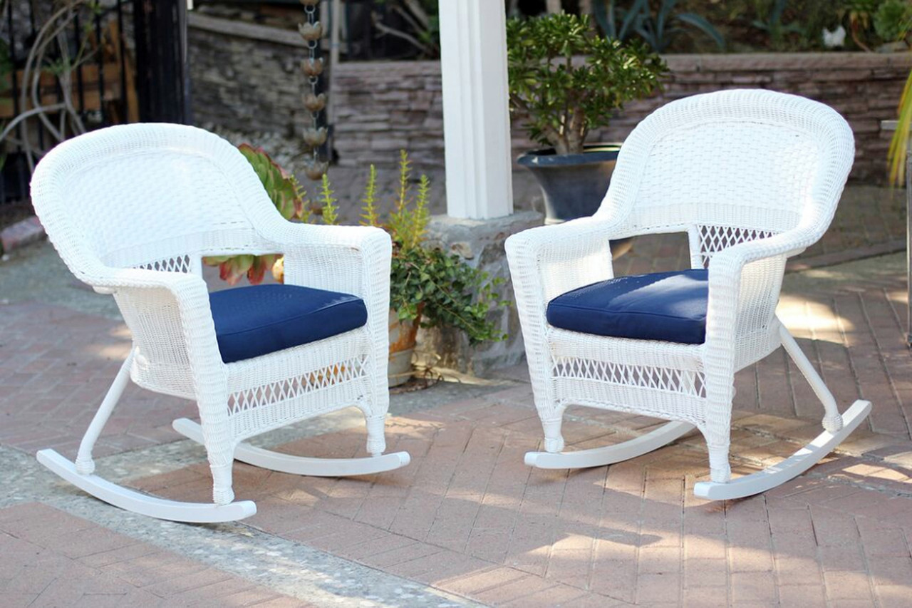 2 Piece Ariel White Resin Wicker Patio Rocker Chairs Furniture Set   Blue  Cushions   31556318