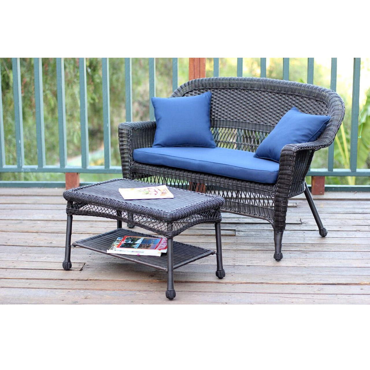 2 Piece Espresso Resin Wicker Patio Loveseat And Coffee Table Set   Blue  Cushion   31556097