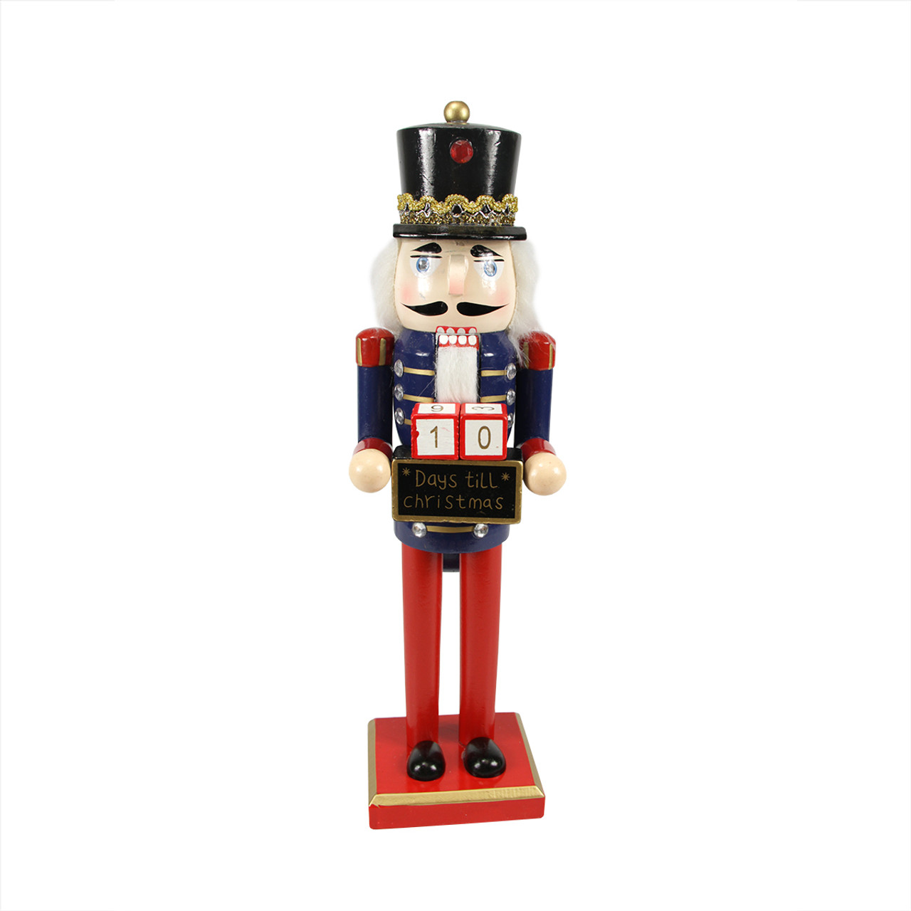 14 decorative wooden red blue gold nutcracker w christmas countdown sign christmas central - Countdown Till Christmas Decoration