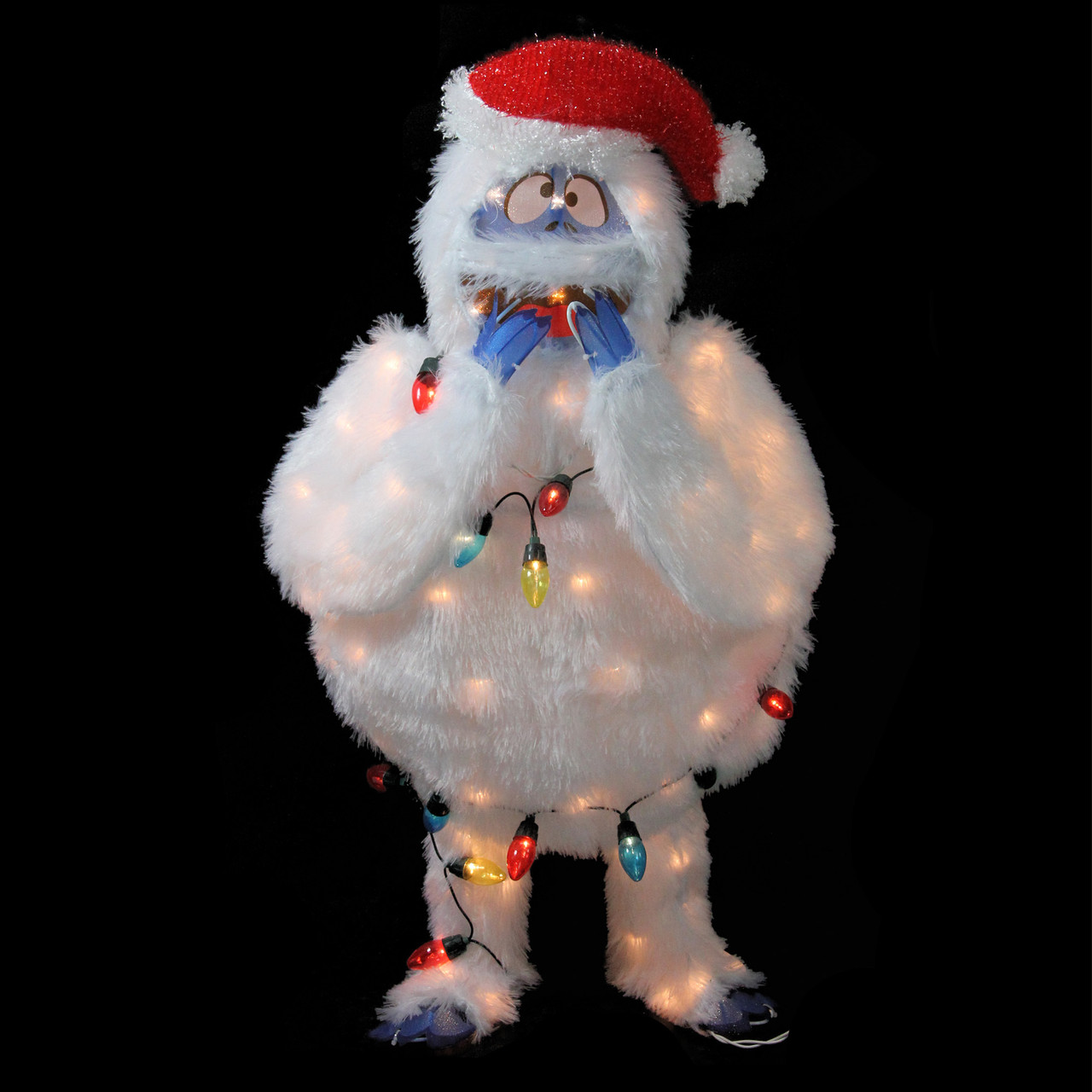 32 pre lit faux fur bumble with light strand christmas outdoor decoration clear lights 31303881