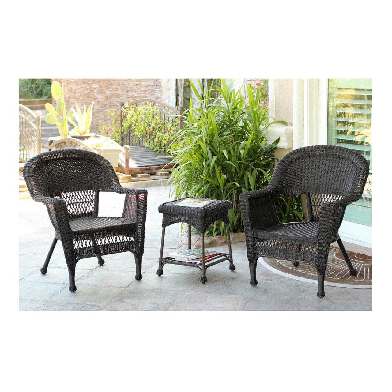 Exceptionnel 3 Piece Espresso Brown Resin Wicker Patio Chairs And End Table Furniture Set    31556048