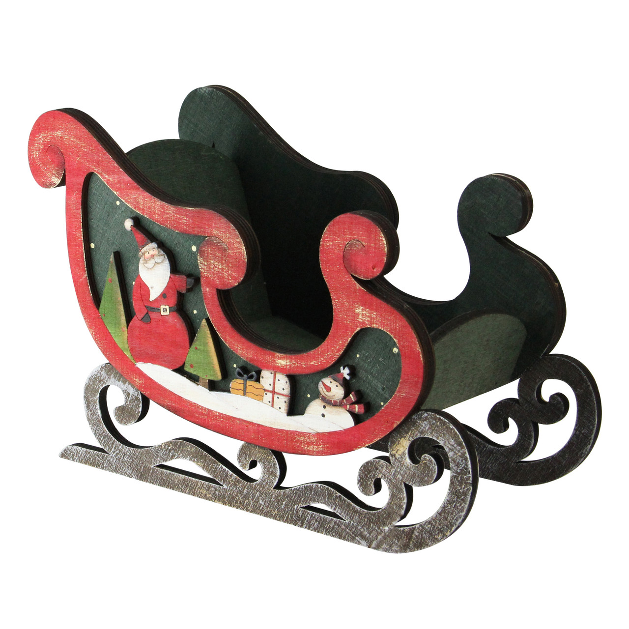 "8"" Wooden Santa Claus & Snowman Decorative Table Top ..."
