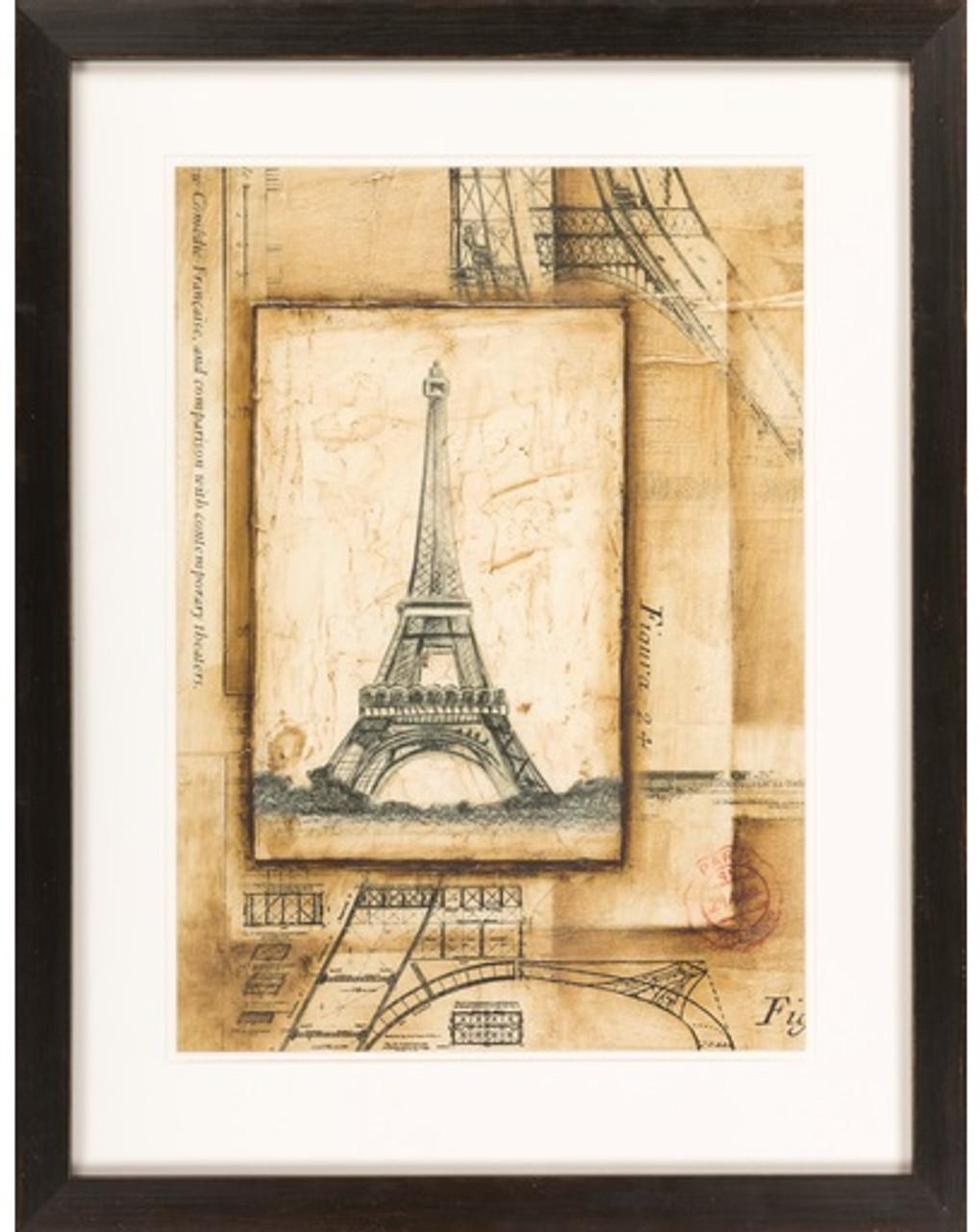 "26"" x 33"" Antique-Styled Framed Passport to Eiffel Wall Art Decor ..."