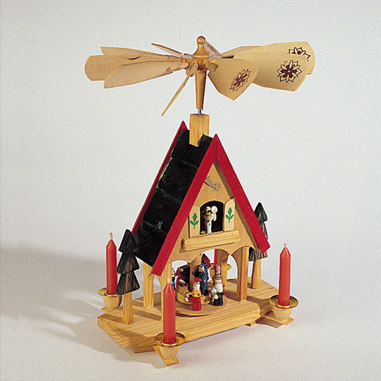 12 wooden alpine windmill christmas nativity carousel table top candle holder 13221578