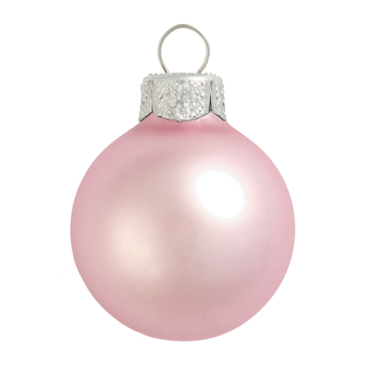 12ct Matte Baby Pink Glass Ball Christmas Ornaments 2.75 ...