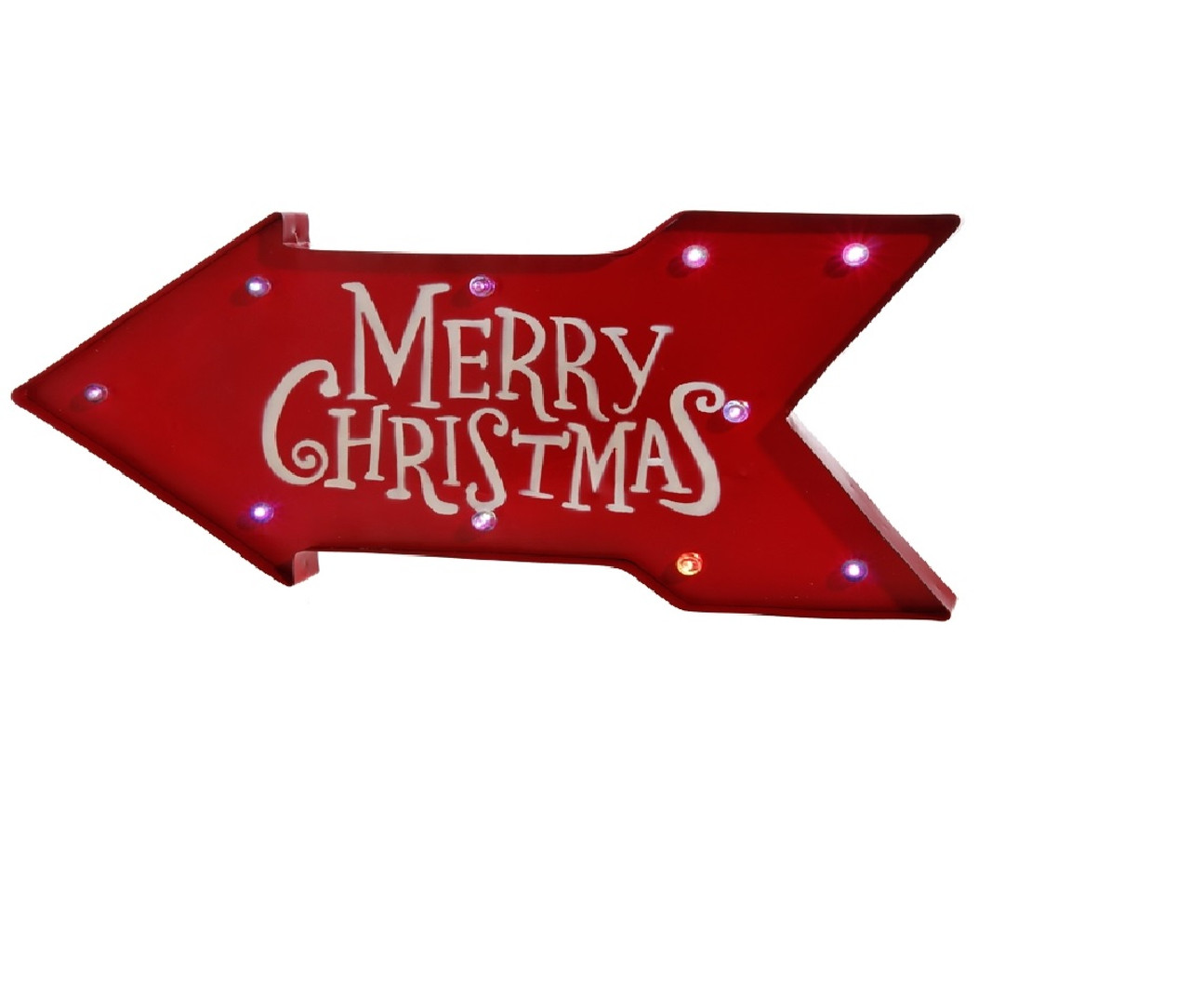 23 battery operated lighted color changing red arrow merry christmas sign 32618542