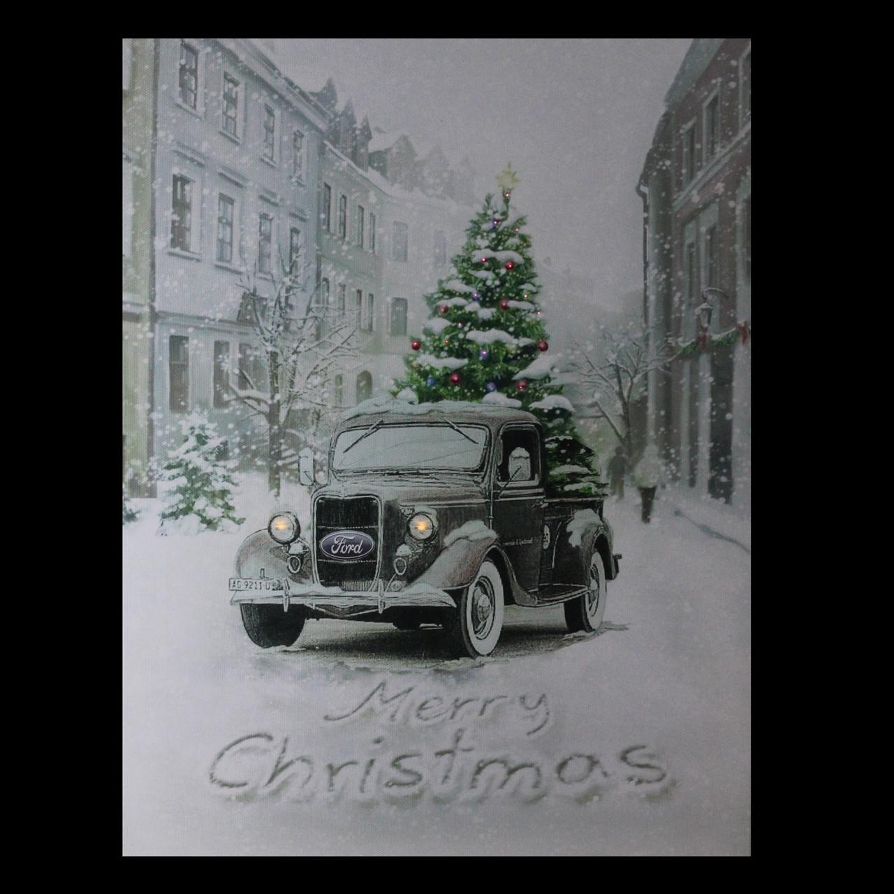 Fiber Optic Lighted Ford Truck Merry Christmas Canvas Wall Art 1575 X 12